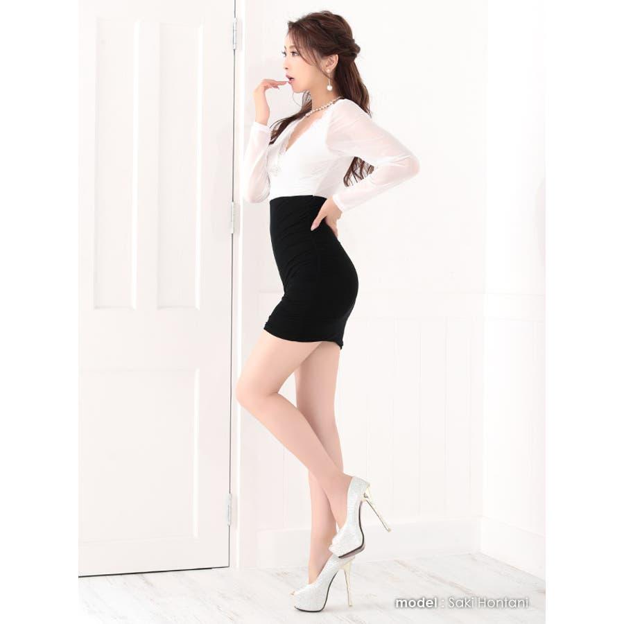 Tika holic ティカ ホリック ブローチ付き バイカラー 長袖 タイト ミニドレス2colorS-XLサイズキャバドレスキャバクラ キャバ嬢 キャバ ドレス 4