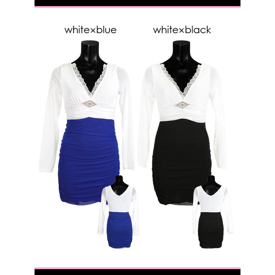 Tika holic ティカ ホリック ブローチ付き バイカラー 長袖 タイト ミニドレス2colorS-XLサイズキャバドレスキャバクラ キャバ嬢 キャバ ドレス 6