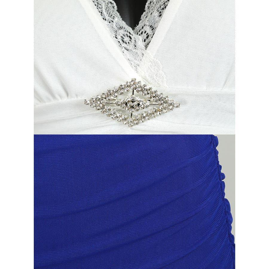 Tika holic ティカ ホリック ブローチ付き バイカラー 長袖 タイト ミニドレス2colorS-XLサイズキャバドレスキャバクラ キャバ嬢 キャバ ドレス 8