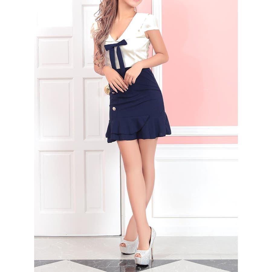 Tika holic ティカ ホリック ドレス 着用 フェミニン バイカラー フリル スカート ミニドレスホワイトネイビーS,Mサイズ キャバ キャバドレス キャバ嬢 キャバクラ ミニ ドレス ワンピース キャバワンピ タイトドレス タイト膝丈ミモレ丈袖あり リボン 3