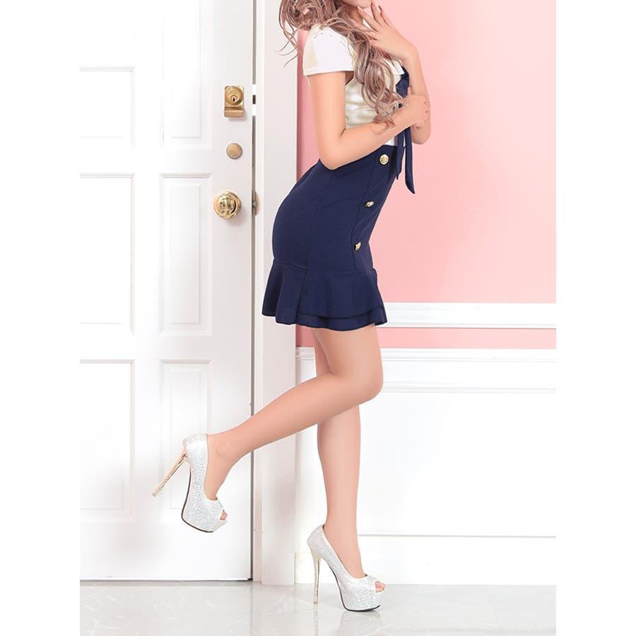 Tika holic ティカ ホリック ドレス 着用 フェミニン バイカラー フリル スカート ミニドレスホワイトネイビーS,Mサイズ キャバ キャバドレス キャバ嬢 キャバクラ ミニ ドレス ワンピース キャバワンピ タイトドレス タイト膝丈ミモレ丈袖あり リボン 4