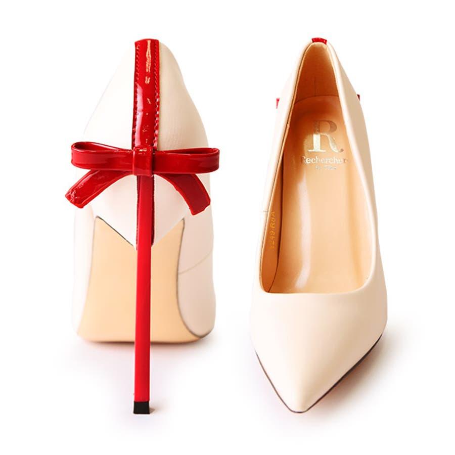 Tika ティカ リボンプレゼント風パンプス (ベージュ) (11cmヒール) 35 36 37 38 39 デザイン 女子力女性らしい キュート 上品 おしゃれ high heel 美脚効果 歩きやすい パーティー ナイトワーク お呼ばれ お出かけ デート 3
