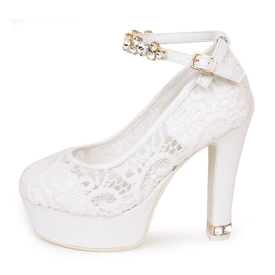 Tika ティカ レースデザインアンクルビジューストラップパンプス (ホワイト) (11cmヒール) White 白 35363738 デザイン 女子力 女性らしい 太めヒール high heel pumps 美脚効果 歩きやすい パーティーお呼ばれお出かけ デート 結婚式 ウェディング キャバ キャバ嬢 2