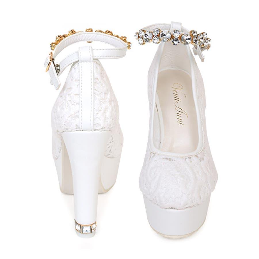 Tika ティカ レースデザインアンクルビジューストラップパンプス (ホワイト) (11cmヒール) White 白 35363738 デザイン 女子力 女性らしい 太めヒール high heel pumps 美脚効果 歩きやすい パーティーお呼ばれお出かけ デート 結婚式 ウェディング キャバ キャバ嬢 3