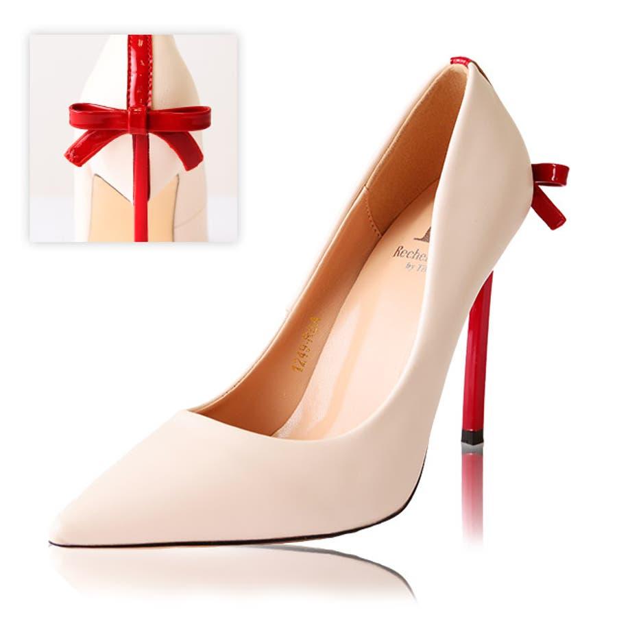 Tika ティカ リボンプレゼント風パンプス (ベージュ) (11cmヒール) 35 36 37 38 39 デザイン 女子力女性らしい キュート 上品 おしゃれ high heel 美脚効果 歩きやすい パーティー ナイトワーク お呼ばれ お出かけ デート 1