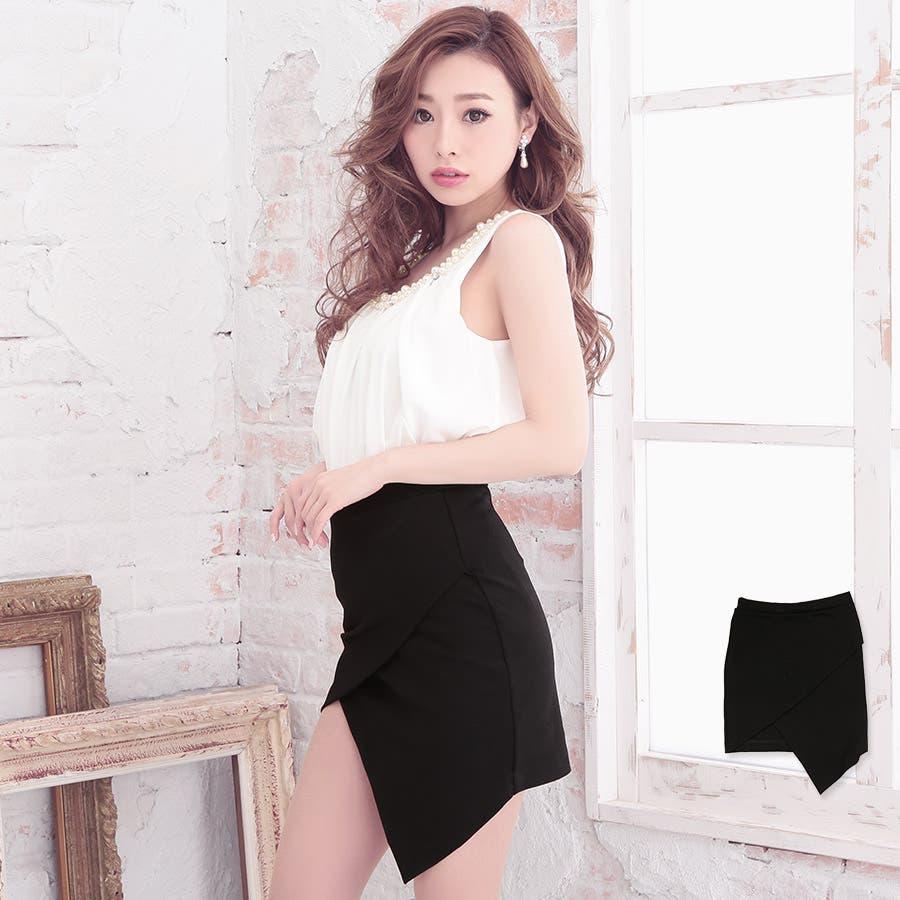 アシメカットラップタイトミニスカート ブラック Mサイズ シンプル 制服 お揃い 21