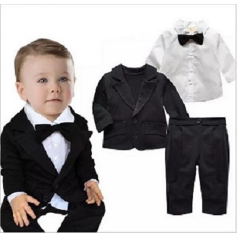 b96e5432ed1be ベビー 赤ちゃん キッズ 子供服 綿 フォーマル 3点セット 男の子 ...