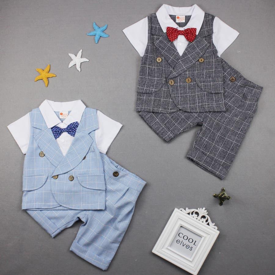 6fcd1e37c3b2b ベビー 赤ちゃん キッズ 子供服 綿 フォーマル 重ね着風 Tシャツ ショートパンツ 上下
