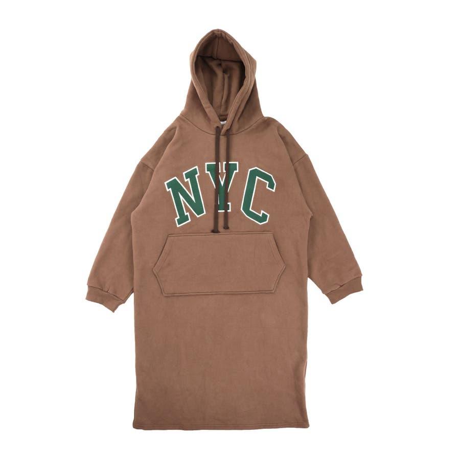 ロングワンピース 秋冬 NYCプリント パーカーワンピ 裏起毛 長袖 あったか フード スウェット レディース 韓国ファッション 29