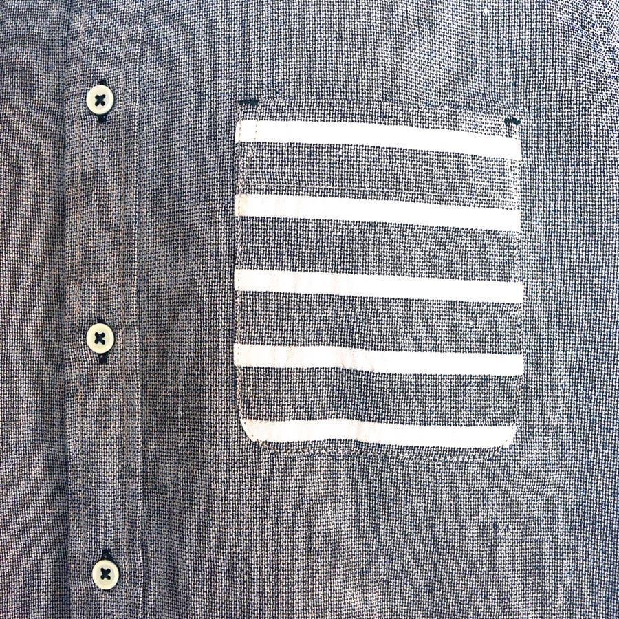 大きいサイズ コットンパナマ ボーダーポケット付き クロップドスリーブ ボタンダウンシャツ 8343-150L 6