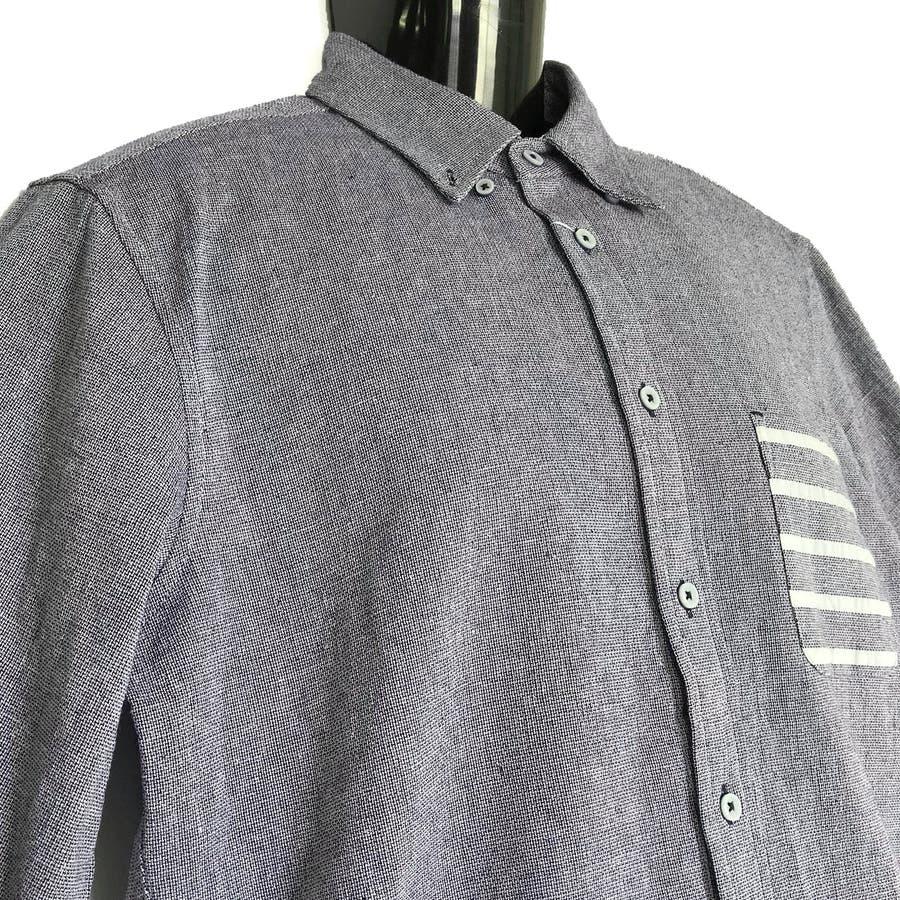 大きいサイズ コットンパナマ ボーダーポケット付き クロップドスリーブ ボタンダウンシャツ 8343-150L 5