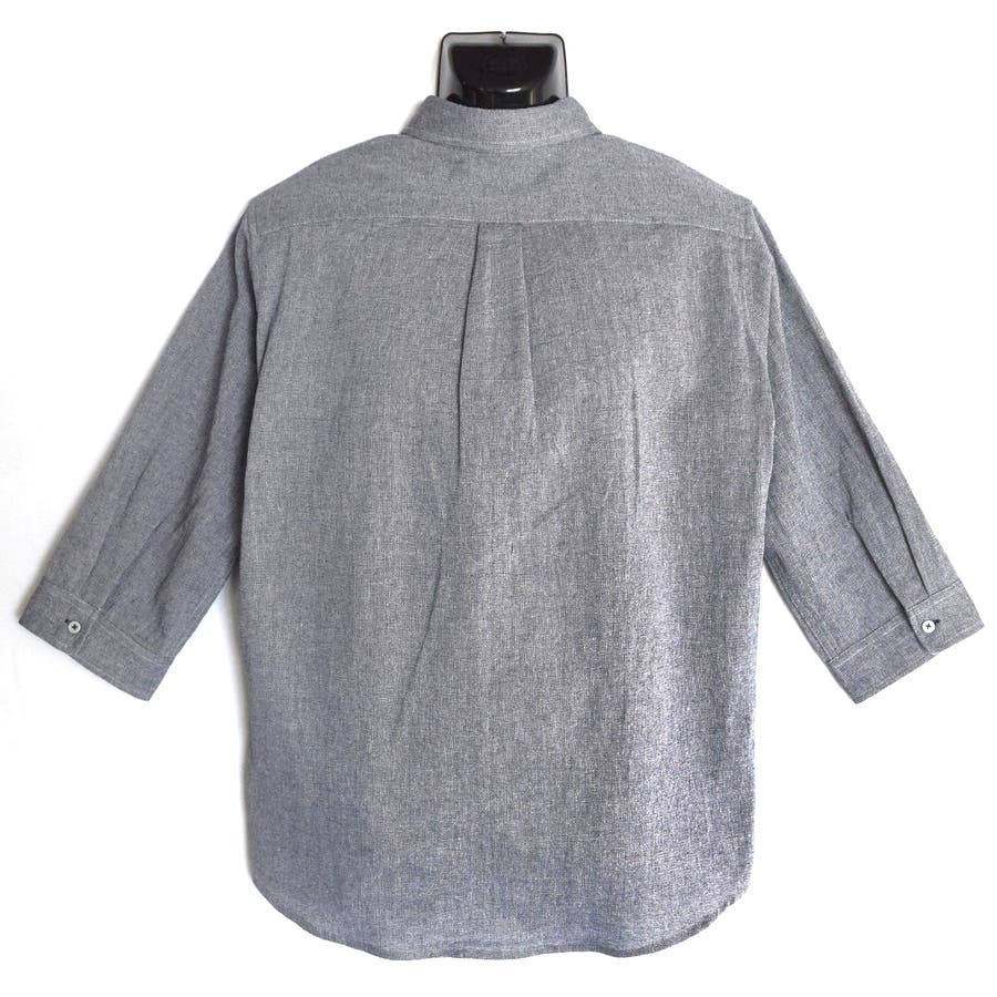 大きいサイズ コットンパナマ ボーダーポケット付き クロップドスリーブ ボタンダウンシャツ 8343-150L 2