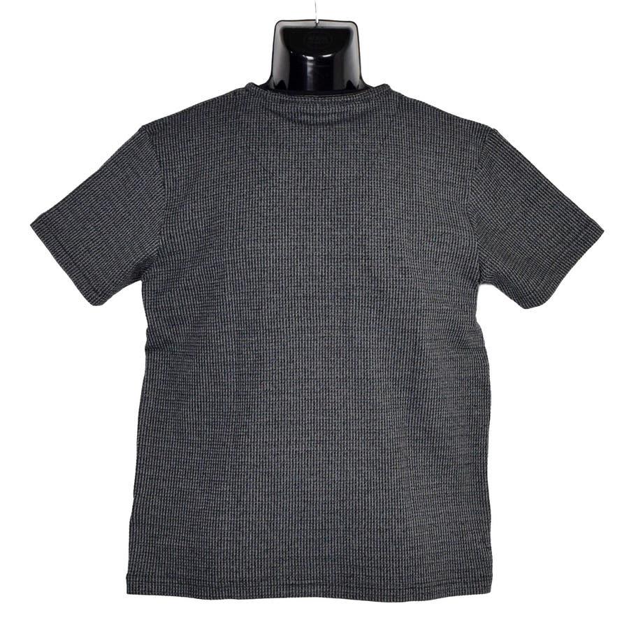 AMORTE MIXワッフル フェイク 5釦 Yネック ヘンリー 半袖Tシャツ 8403-902 2