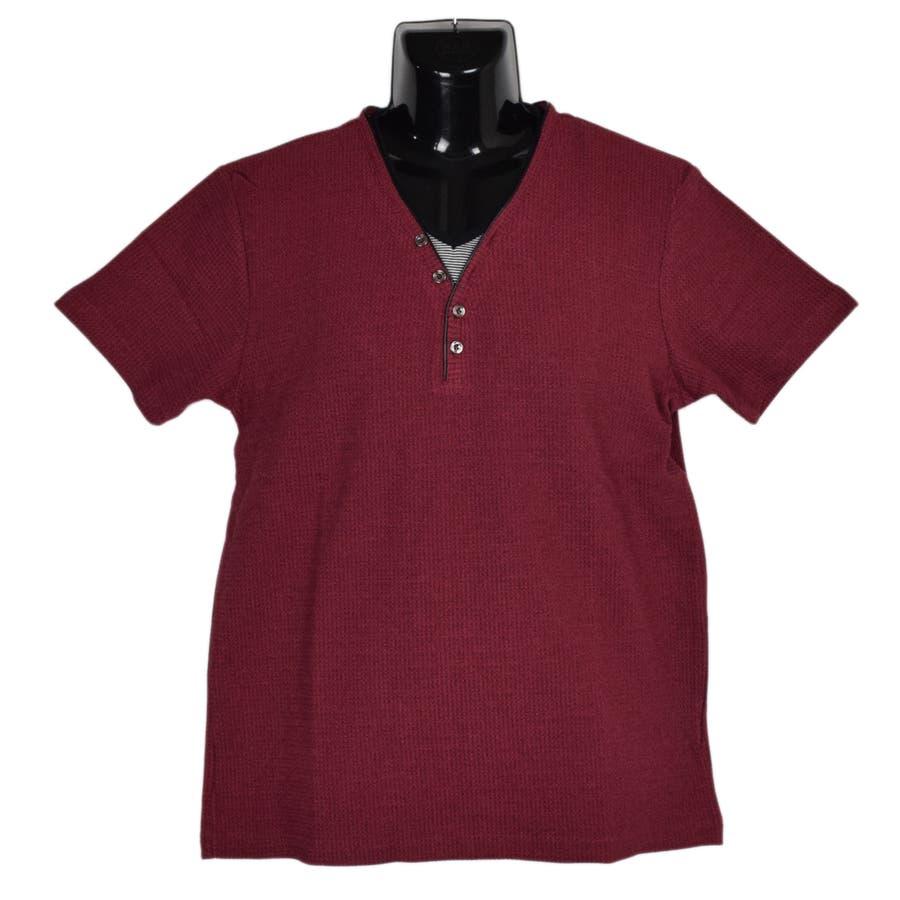 AMORTE MIXワッフル フェイク 5釦 Yネック ヘンリー 半袖Tシャツ 8403-902 11