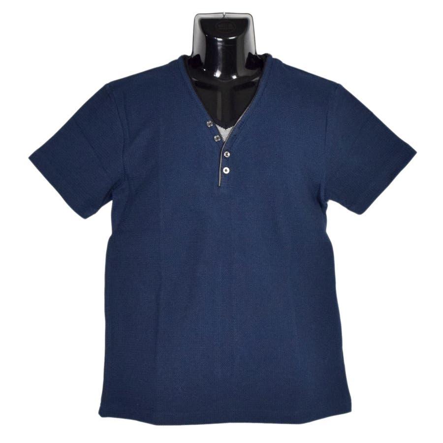 AMORTE MIXワッフル フェイク 5釦 Yネック ヘンリー 半袖Tシャツ 8403-902 7