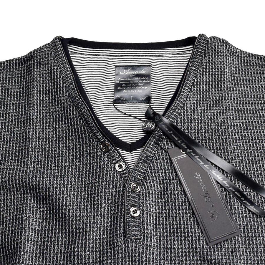 AMORTE MIXワッフル フェイク 5釦 Yネック ヘンリー 半袖Tシャツ 8403-902 4