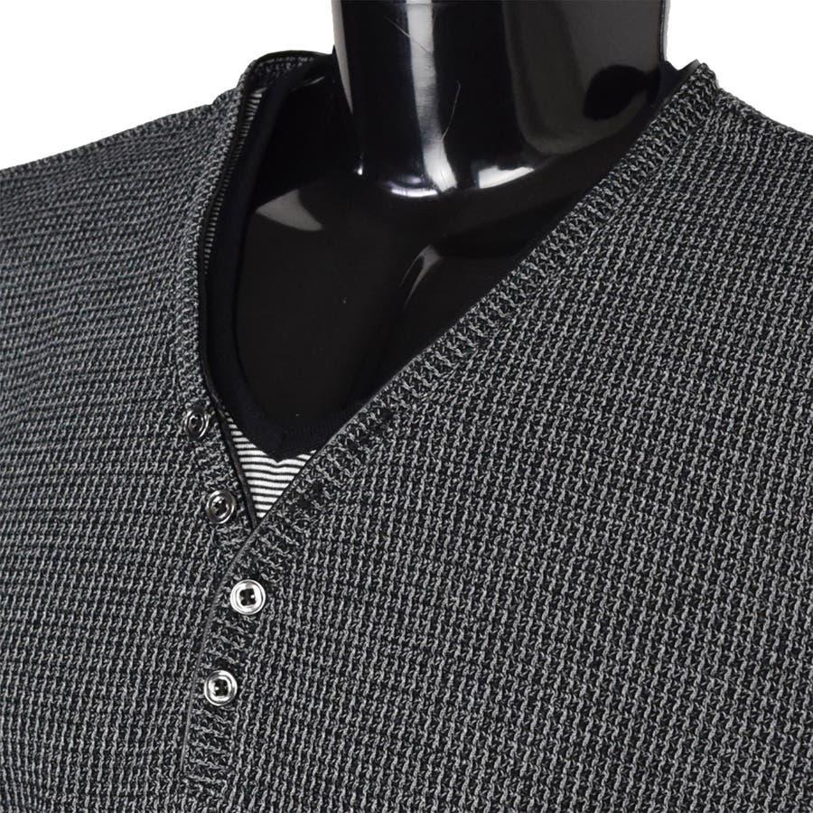 AMORTE MIXワッフル フェイク 5釦 Yネック ヘンリー 半袖Tシャツ 8403-902 5
