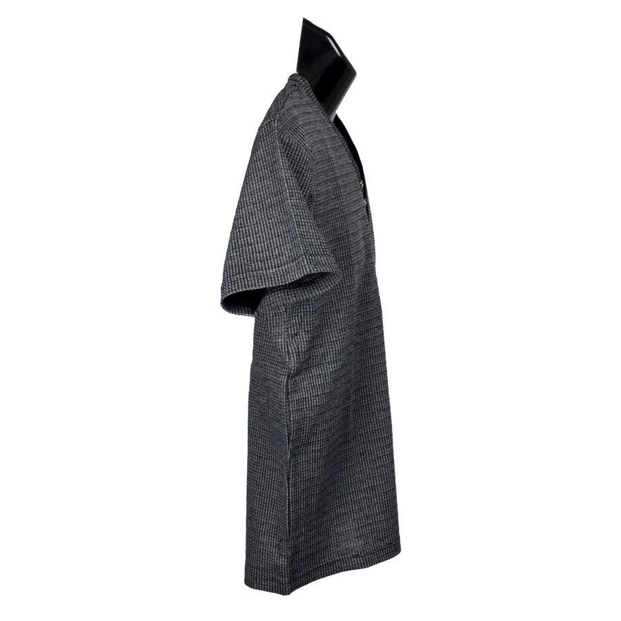 AMORTE MIXワッフル フェイク 5釦 Yネック ヘンリー 半袖Tシャツ 8403-902 3