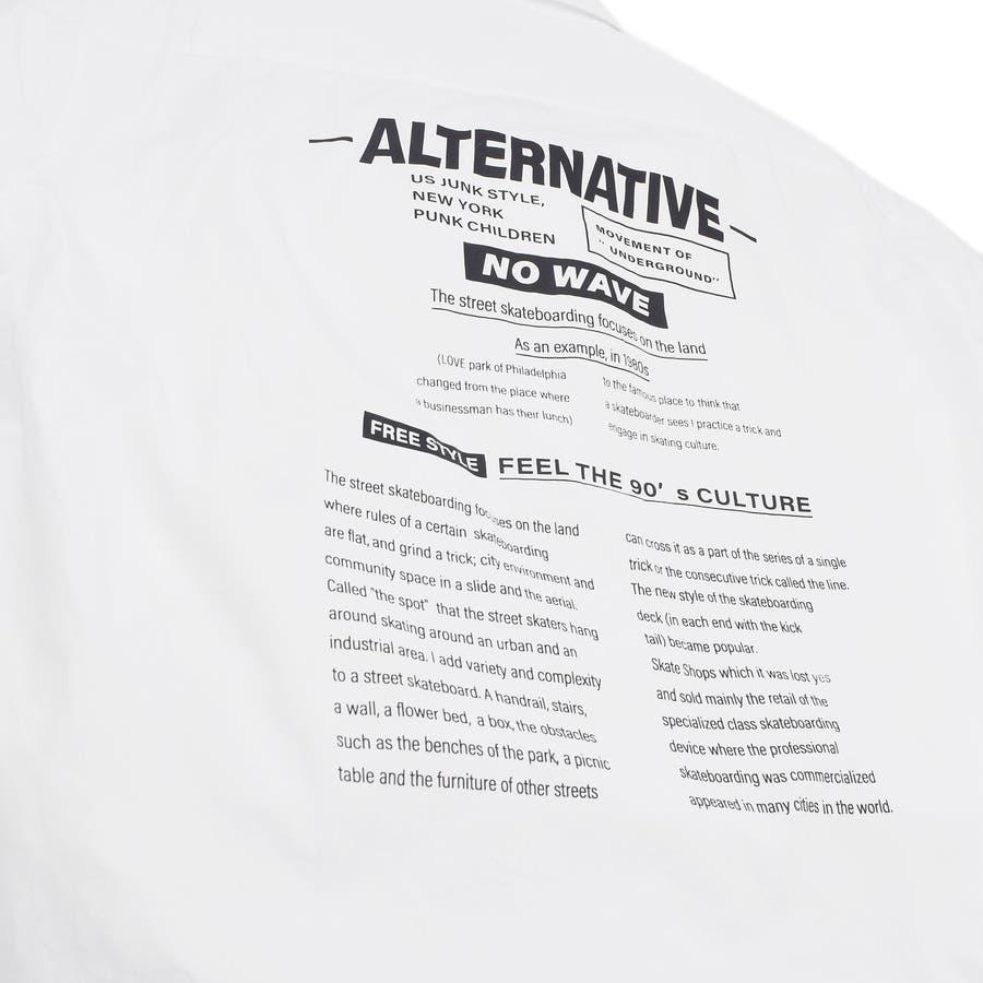 9341-610 韓国 ストリート ロゴ プリント モノトーン ルーズ オーバーサイズ シャツ メンズ レディース ユニセックス 秋 秋物 AW アウター トレンド シャツ アウター シャツアウター 5