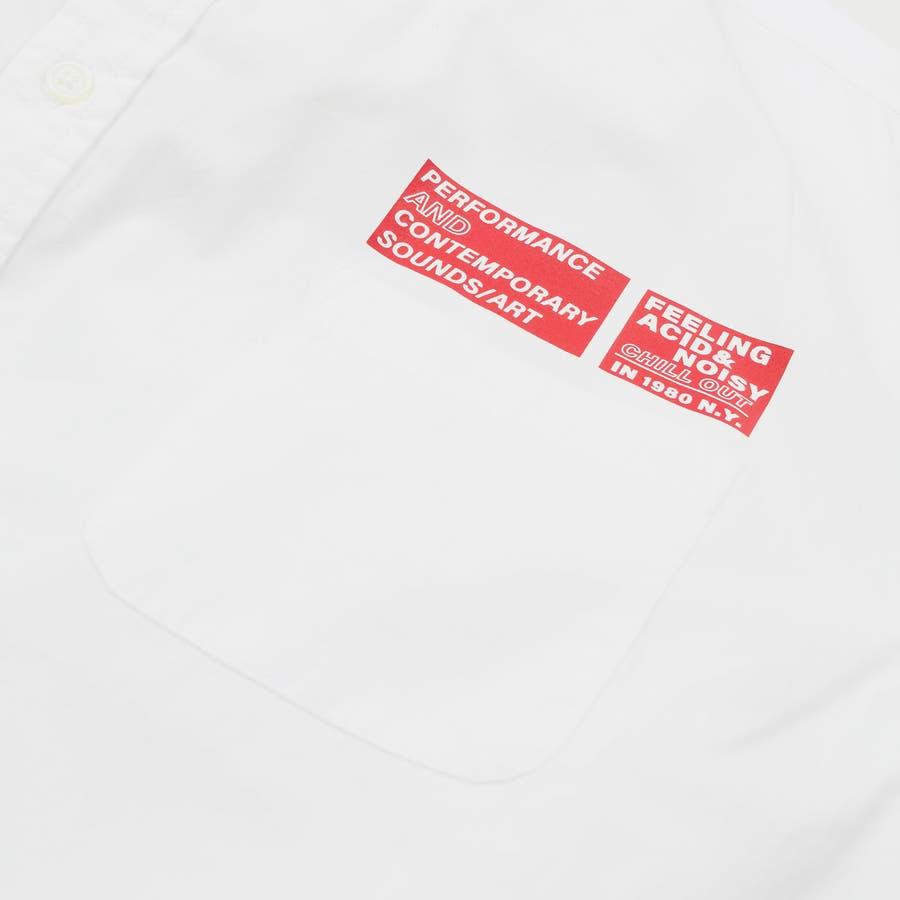 9341-610 韓国 ストリート ロゴ プリント モノトーン ルーズ オーバーサイズ シャツ メンズ レディース ユニセックス 秋 秋物 AW アウター トレンド シャツ アウター シャツアウター 6
