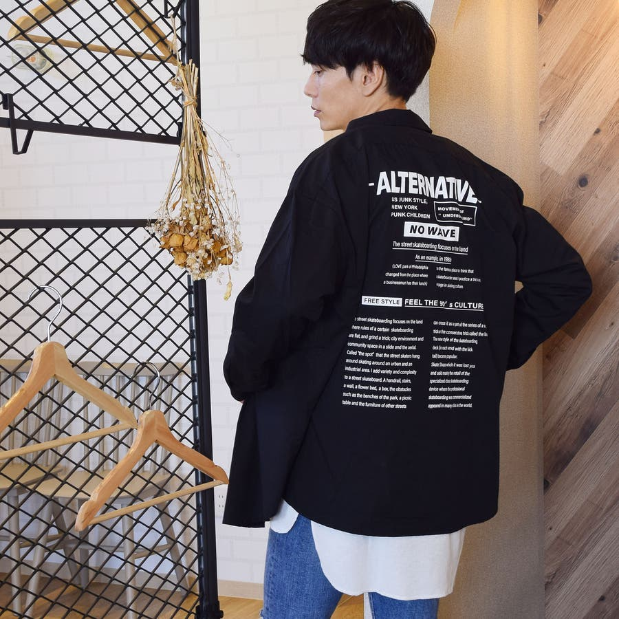 9341-610 韓国 ストリート ロゴ プリント モノトーン ルーズ オーバーサイズ シャツ メンズ レディース ユニセックス 秋 秋物 AW アウター トレンド シャツ アウター シャツアウター 2