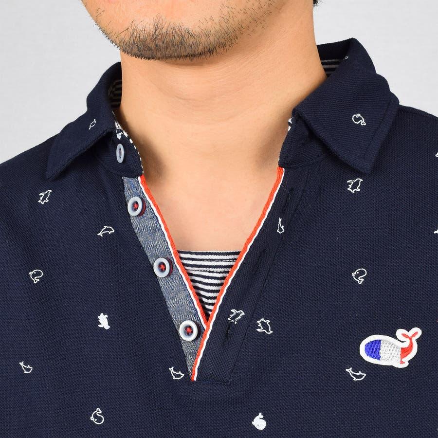 T/C カノコ 総柄プリント スキッパー ポロシャツ 9403-200 5
