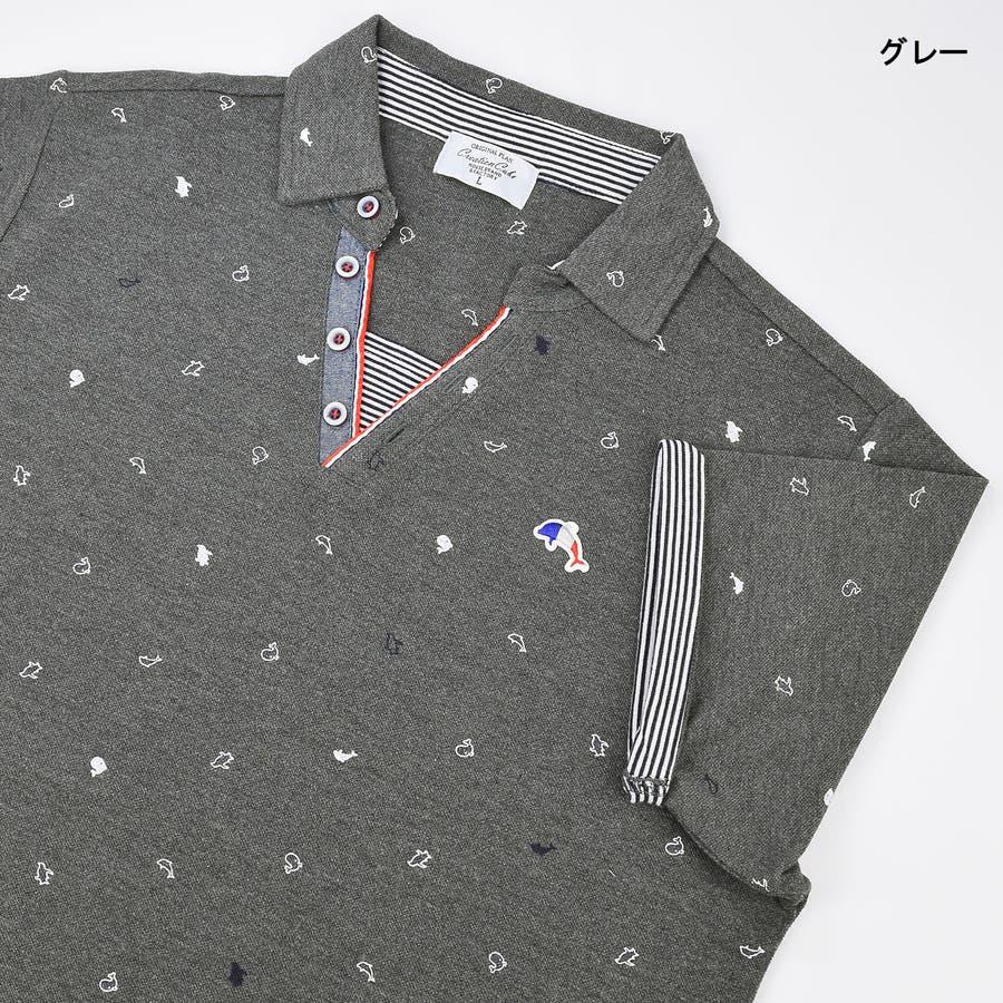 T/C カノコ 総柄プリント スキッパー ポロシャツ 9403-200 23