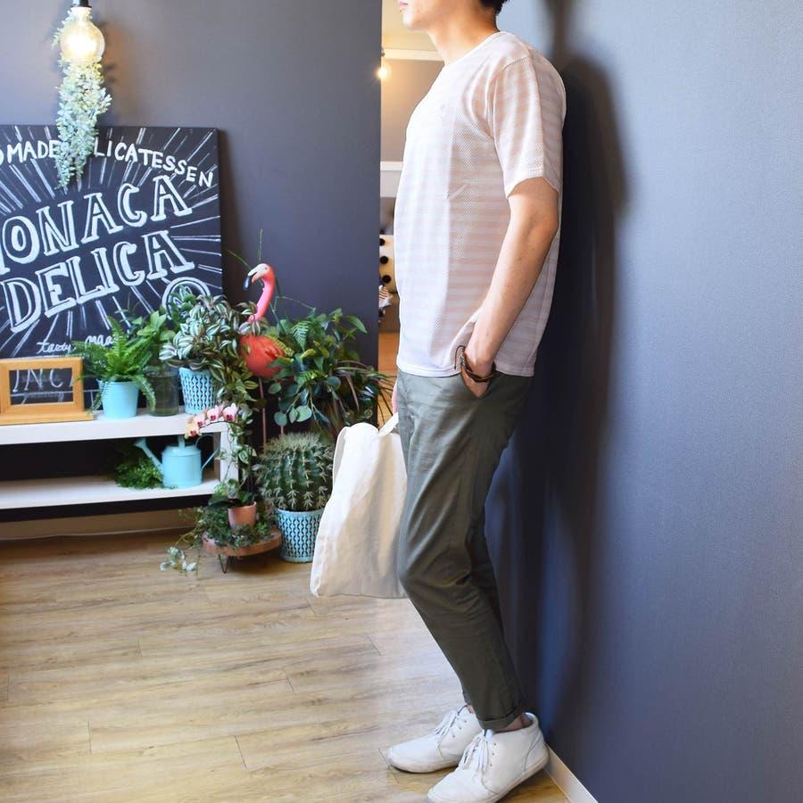 9403244 Tシャツ メンズ 服 半袖 クルーネック 胸刺繍 ワンポイント刺繍 ボーダー カスレボーダー ヤシ柄 ナチュラル系 夏 ポップコーン編 先染めボーダー ルーズシルエット ビックシルエット BIG 韓国ファッション 3