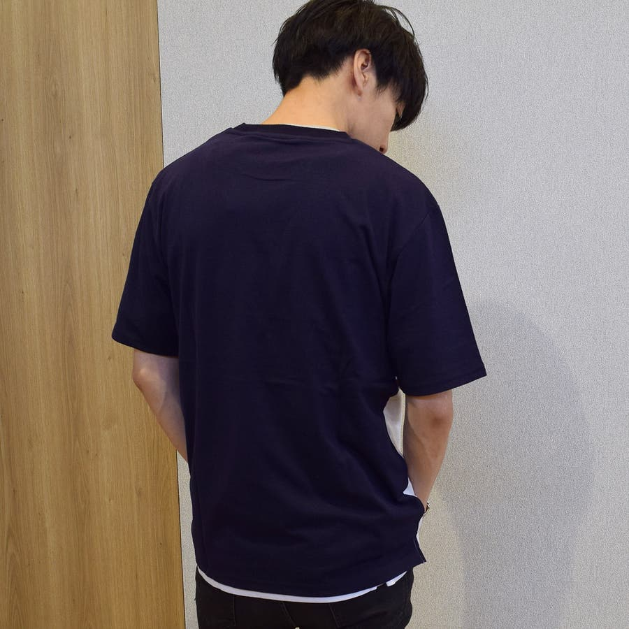 9403-252 Tシャツ ゆったり ルーズ スポーツ ストリート パネル切替 プリント入り 英字 英語 ユニセックス 男女兼用 2