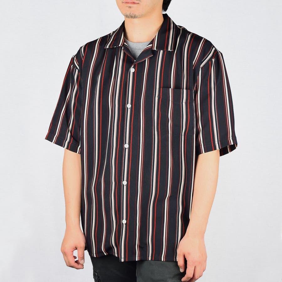 PTストライプ 半袖 オープンカラーシャツ 9343-600 4
