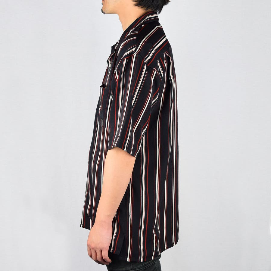 PTストライプ 半袖 オープンカラーシャツ 9343-600 3