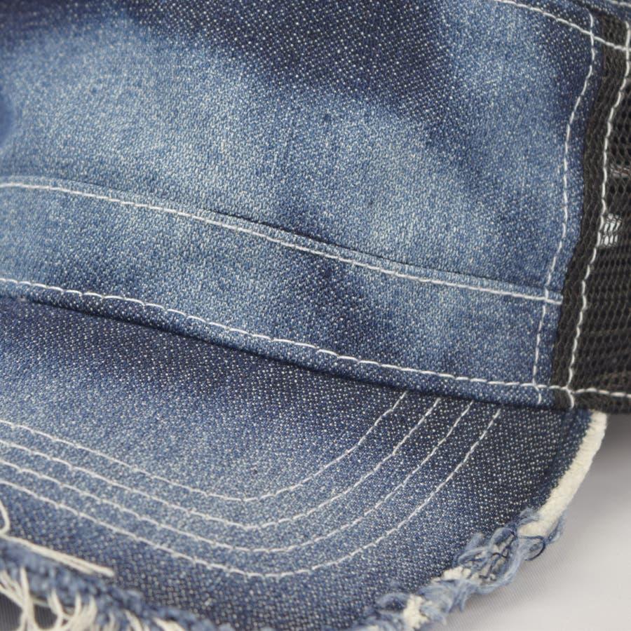 0683-805 帽子 キャップ ワーク メッシュ キャップ デニム ストライプ ヒッコリー  ダメージ 加工 ビンテージ メンズ レディース ユニセックス 6