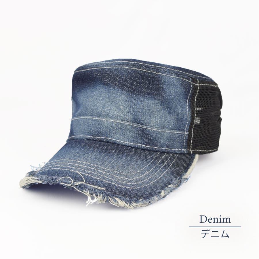 0683-805 帽子 キャップ ワーク メッシュ キャップ デニム ストライプ ヒッコリー  ダメージ 加工 ビンテージ メンズ レディース ユニセックス 70