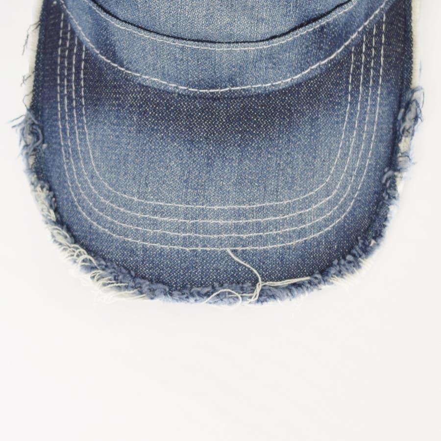 0683-805 帽子 キャップ ワーク メッシュ キャップ デニム ストライプ ヒッコリー  ダメージ 加工 ビンテージ メンズ レディース ユニセックス 7