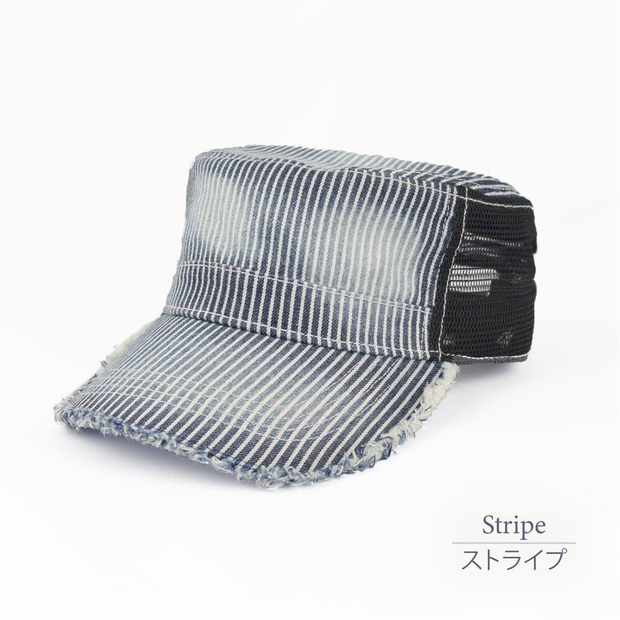 0683-805 帽子 キャップ ワーク メッシュ キャップ デニム ストライプ ヒッコリー  ダメージ 加工 ビンテージ メンズ レディース ユニセックス 76