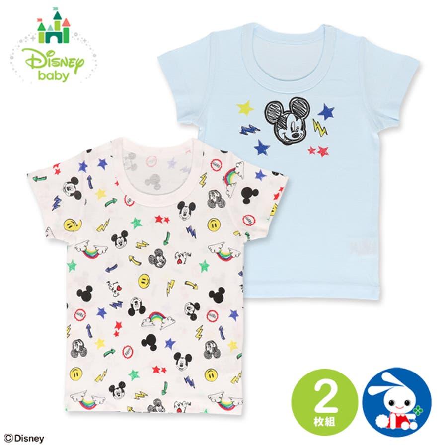 df9678b4387e3 ディズニー 2枚組半袖シャツ(ミッキー) 90cm・95cm  品番 ...