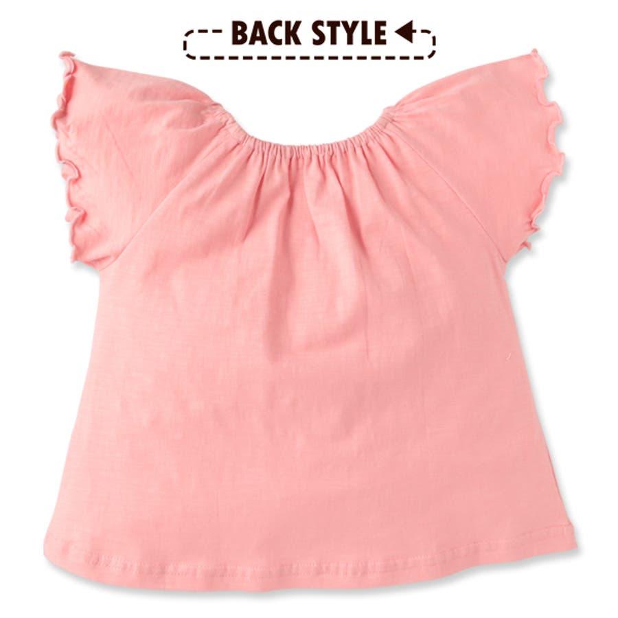 4cf2cc62e4298 EFC 袖フリルスモック半袖Tシャツ ピンク イエロー ネイビー 80cm・90cm ...