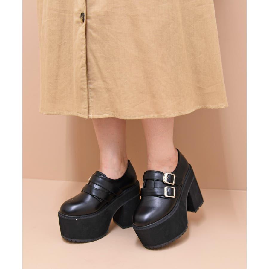 靴 シューズ レディース 厚底 マニッシュ ストラップ ベルト タンクヒール 黒 履きやすい 個性的ダブルベルト ブラック 黒 合皮 原宿 可愛い コスプレ 盛れる 人気 NOFALL sango ノーフォール サンゴ 21546 21