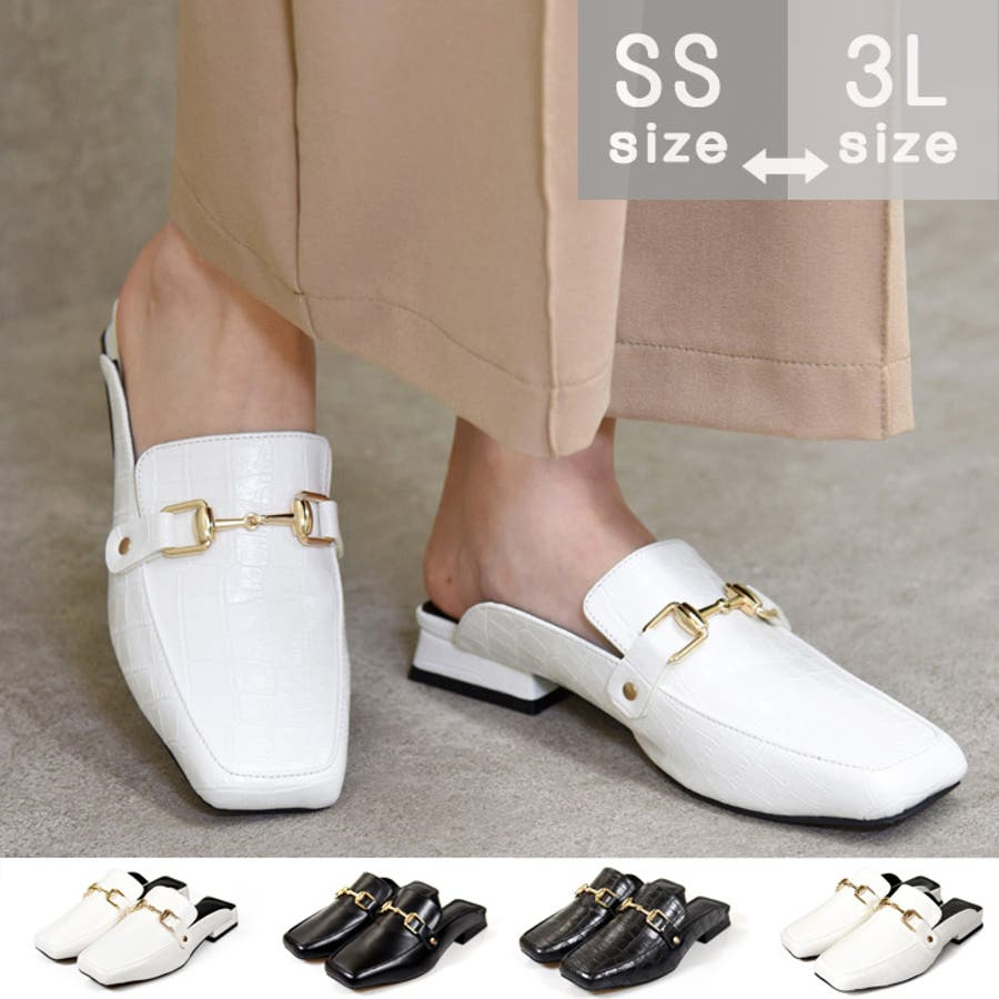 靴 レディース シューズ ミュールパンプス スクエアトゥ ビット おしゃれ かわいい 大人 ローヒール 黒 ブラック クロコ NOFALL SANGO サンゴノーフォール 21668 1