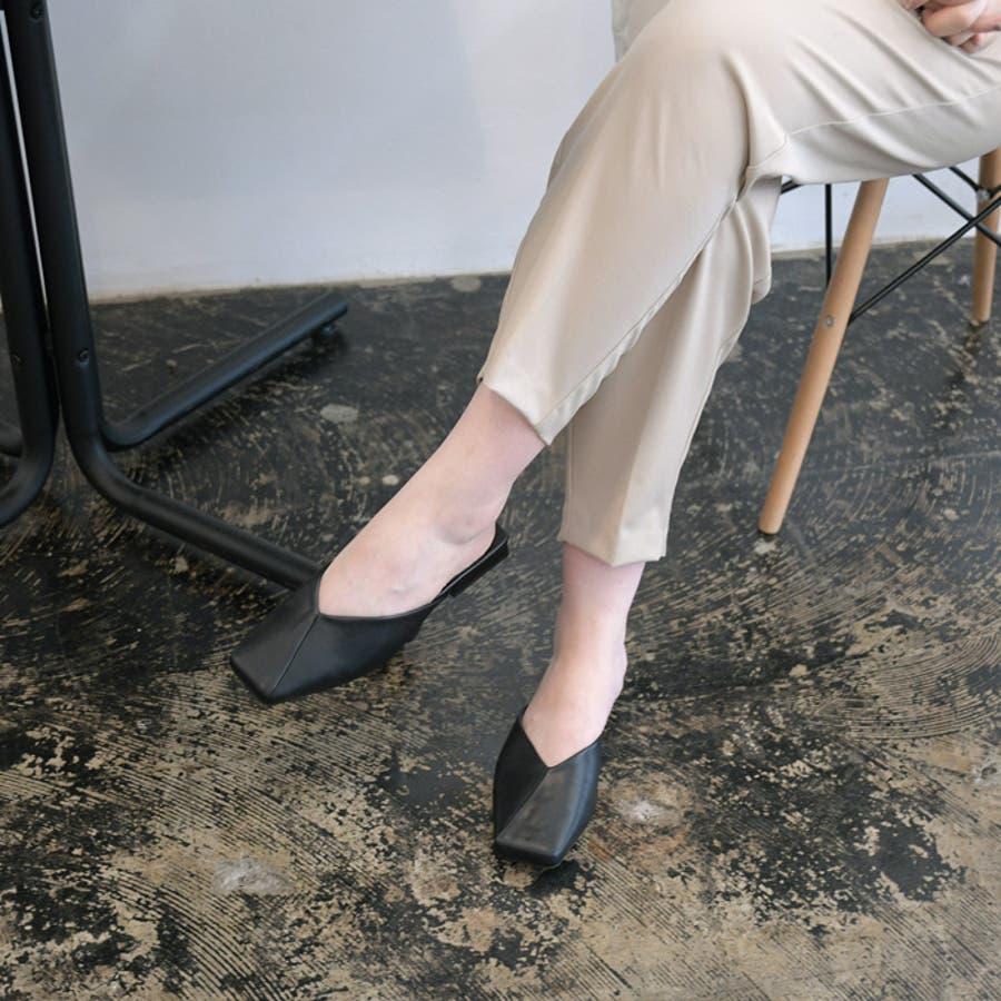 靴 レディース シューズ ミュール パンプス スクエアトゥ フラット おしゃれ かわいい 大人 ローヒール 黒 ブラック 合皮NOFALL SANGO サンゴ ノーフォール 21683 21