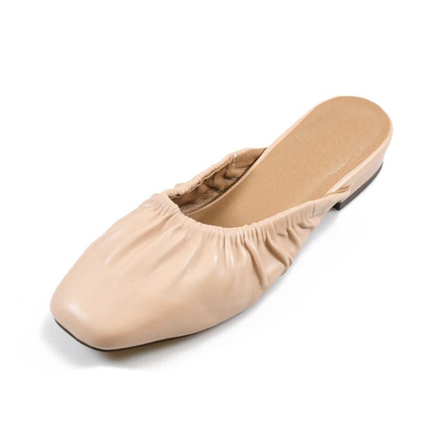 靴 レディース ミュール ギャザー 履きやすい おしゃれ ブラック ベージュ ブラウン パイソン スリッパ 大人女子 秋冬 ローヒールサンゴ ノーフォール 21851 41