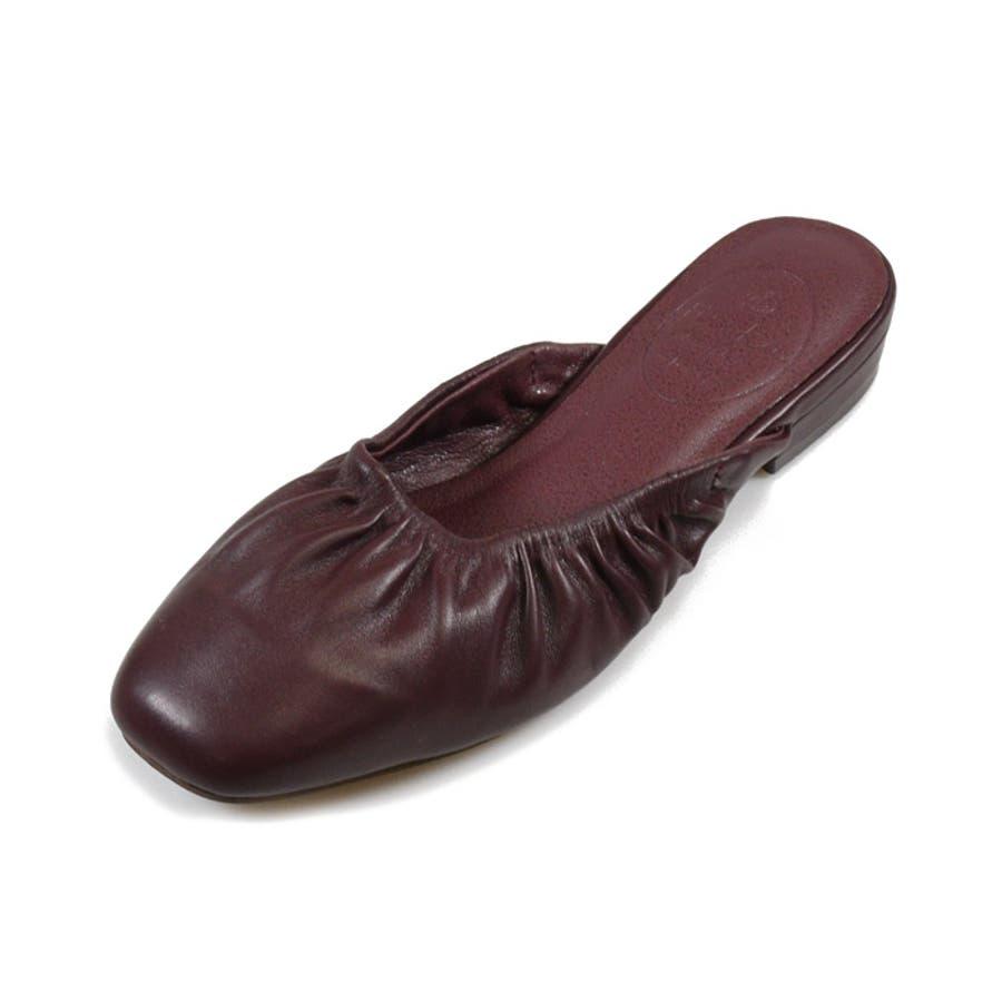 靴 レディース ミュール ギャザー 履きやすい おしゃれ ブラック ベージュ ブラウン パイソン スリッパ 大人女子 秋冬 ローヒールサンゴ ノーフォール 21851 31