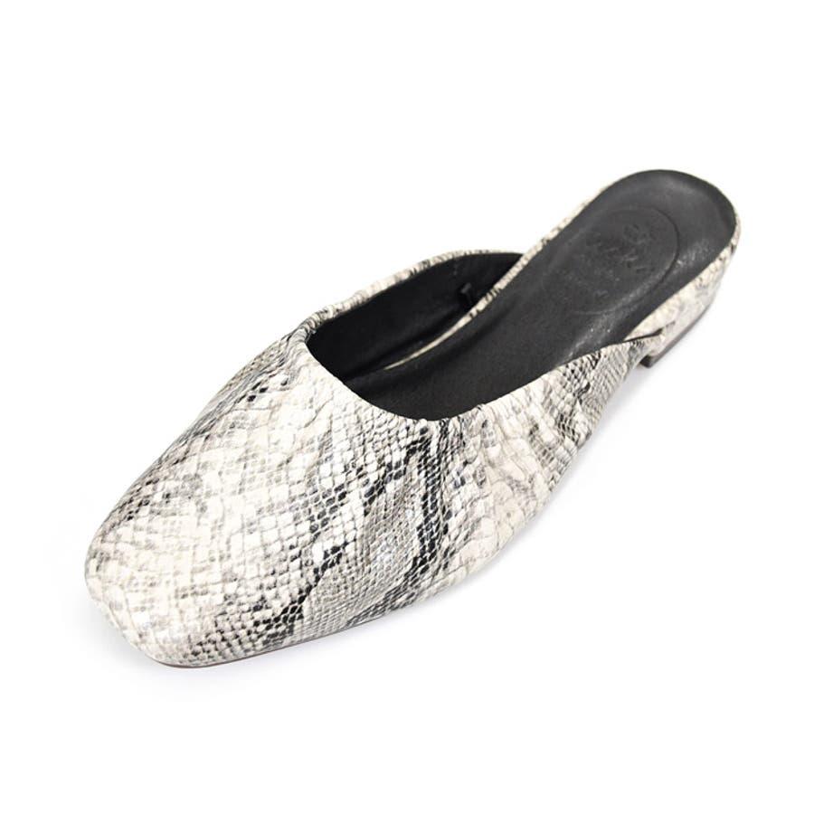 靴 レディース ミュール ギャザー 履きやすい おしゃれ ブラック ベージュ ブラウン パイソン スリッパ 大人女子 秋冬 ローヒールサンゴ ノーフォール 21851 108