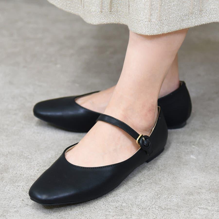 靴 シューズ レディース パンプス ローヒール ストラップ 可愛い おしゃれ スクエアトゥ 合皮 歩きやすい 黒 NOFALL nofall SANGO sango ノーフォール サンゴ 21688 21