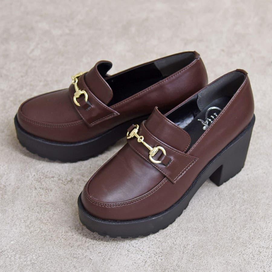 靴 レディース シューズ 厚底 ローファービット ハイヒール マニッシュ おしゃれ かわいい 盛れる 黒 ブラック 美脚 NOFALL SANGO サンゴ ノーフォール 21694 2