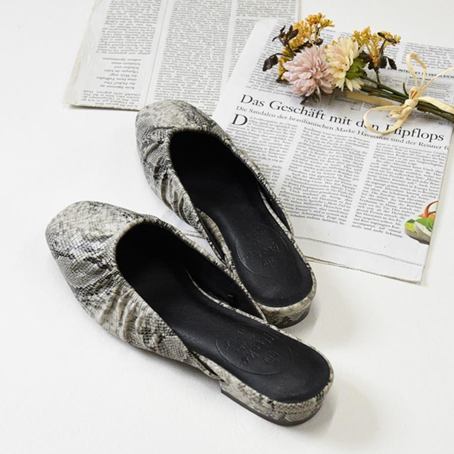 靴 レディース ミュール ギャザー 履きやすい おしゃれ ブラック ベージュ ブラウン パイソン スリッパ 大人女子 秋冬 ローヒールサンゴ ノーフォール 21851 5