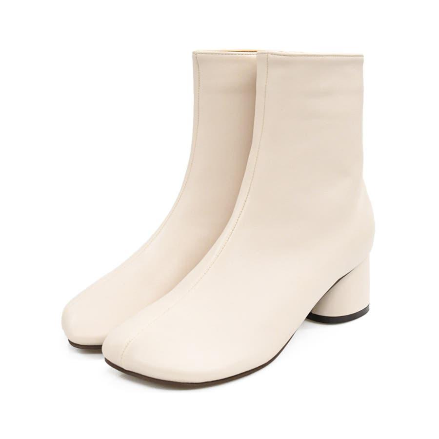 靴 レディース ショートブーツ チャンキーヒール 変形トゥ トレンド ジッパー シンプル シック モードカジュアル 秋色 韓国 淡色 スクエアトゥ ブラック ベージュ ブラウン アイボリー 歩きやすい 大人女子 秋冬 SS S M LLL 3L NOFALL 21869 18