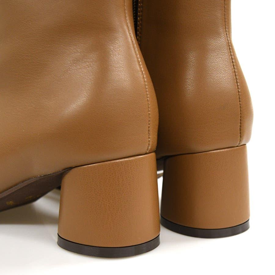 靴 レディース ショートブーツ チャンキーヒール 変形トゥ トレンド ジッパー シンプル シック モードカジュアル 秋色 韓国 淡色 スクエアトゥ ブラック ベージュ ブラウン アイボリー 歩きやすい 大人女子 秋冬 SS S M LLL 3L NOFALL 21869 8