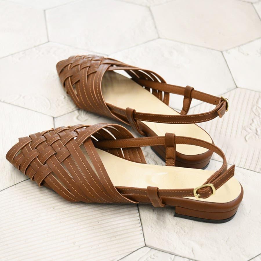 サンダル レディース クロス編み メッシュぺたんこ フラット スクエア 編み込み 疲れにくい 2cmヒール バックストラップ ブラック 靴 NOFALL sangoノーフォール サンゴ 21660 5