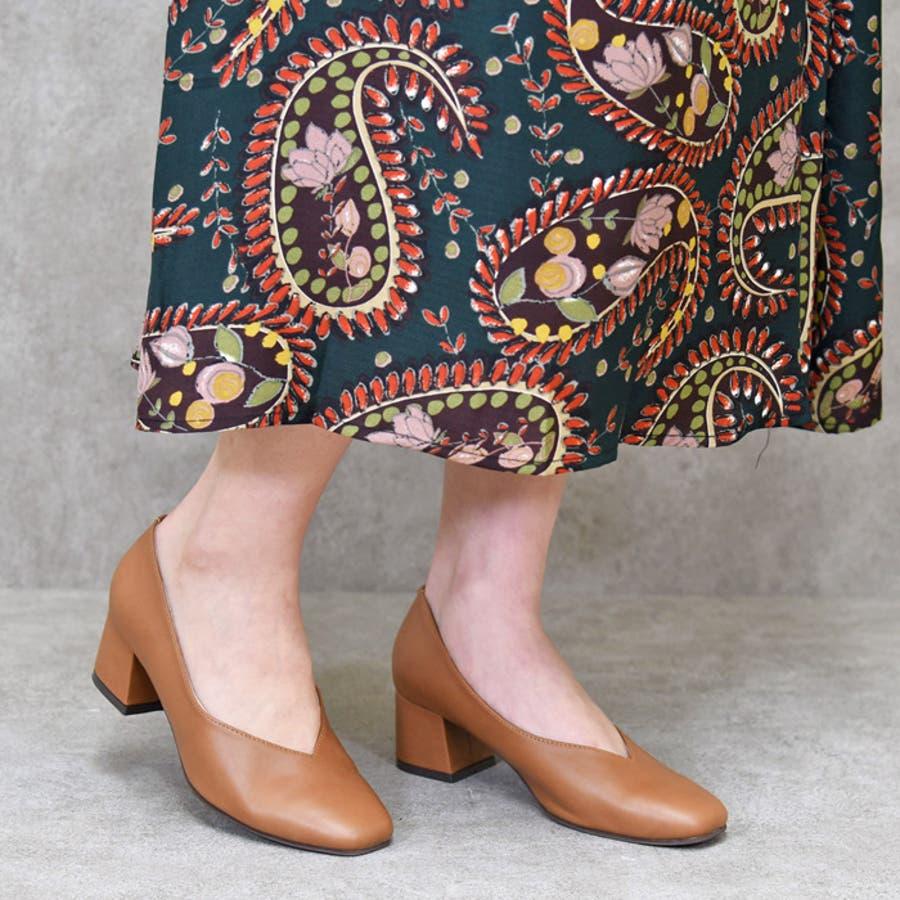 靴 レディース シューズ パンプス スクエアトゥ Vカット チャンキーヒール おしゃれ かわいい 大人 黒 ブラック ベージュ NOFALL SANGO サンゴ ノーフォール 21676 5